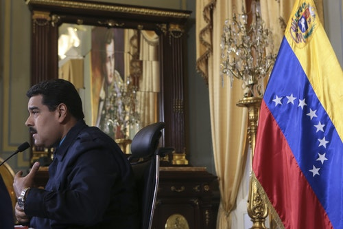 Venezuela's President Nicolas Maduro speaks during a national TV broadcast in Caracas
