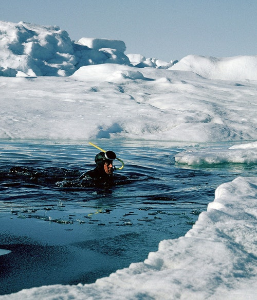 Roy 'Fritz' Koerner donned a wet suit to measure the underside of floes. His detailed study of the arctic ice during the journey was instrumental in subsequent climate change discussions.
