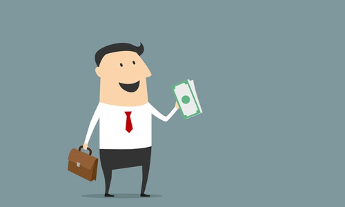 Happy businessman with briefcase and money in cartoon style for business design
