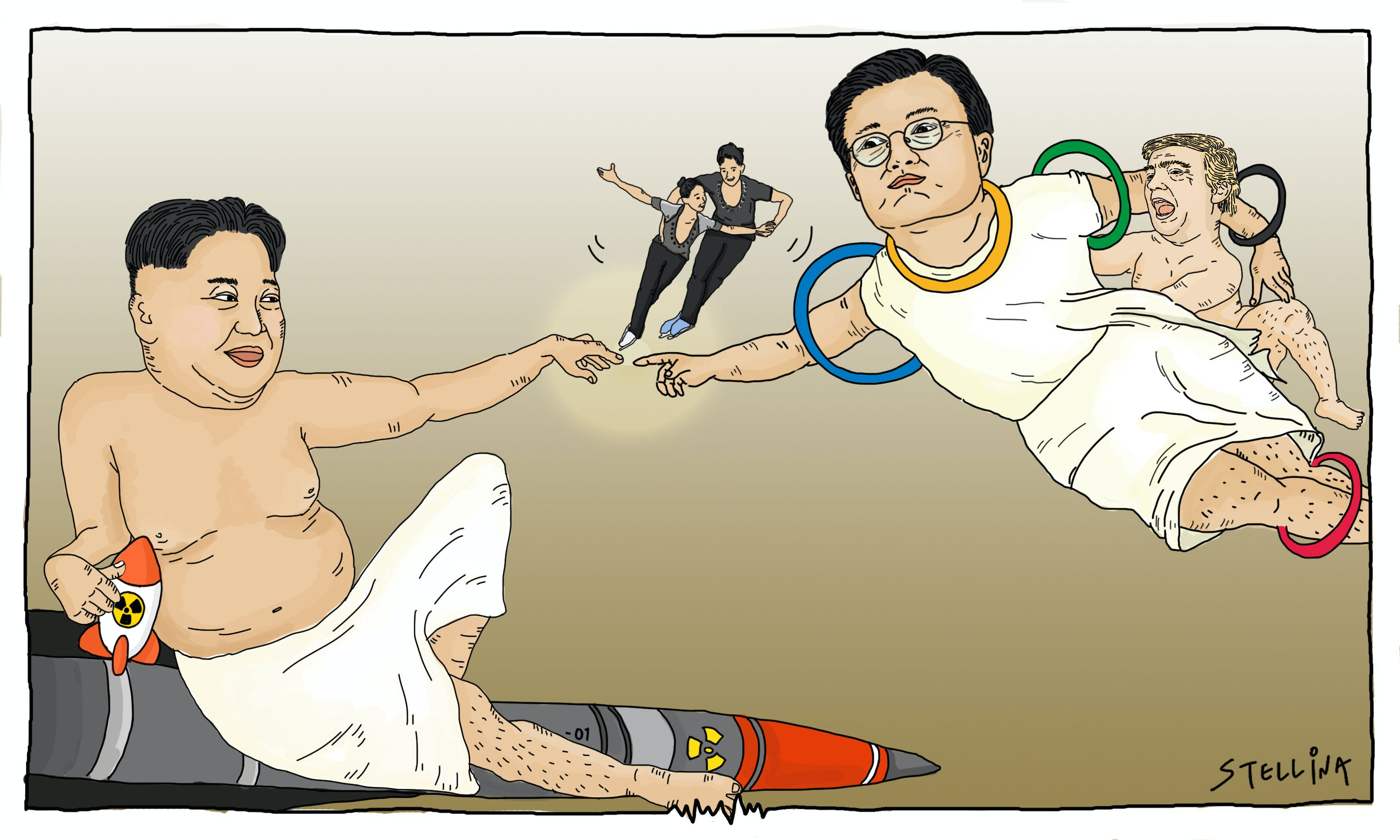 CARTOON: Kim and Moon Dance on Thin Ice