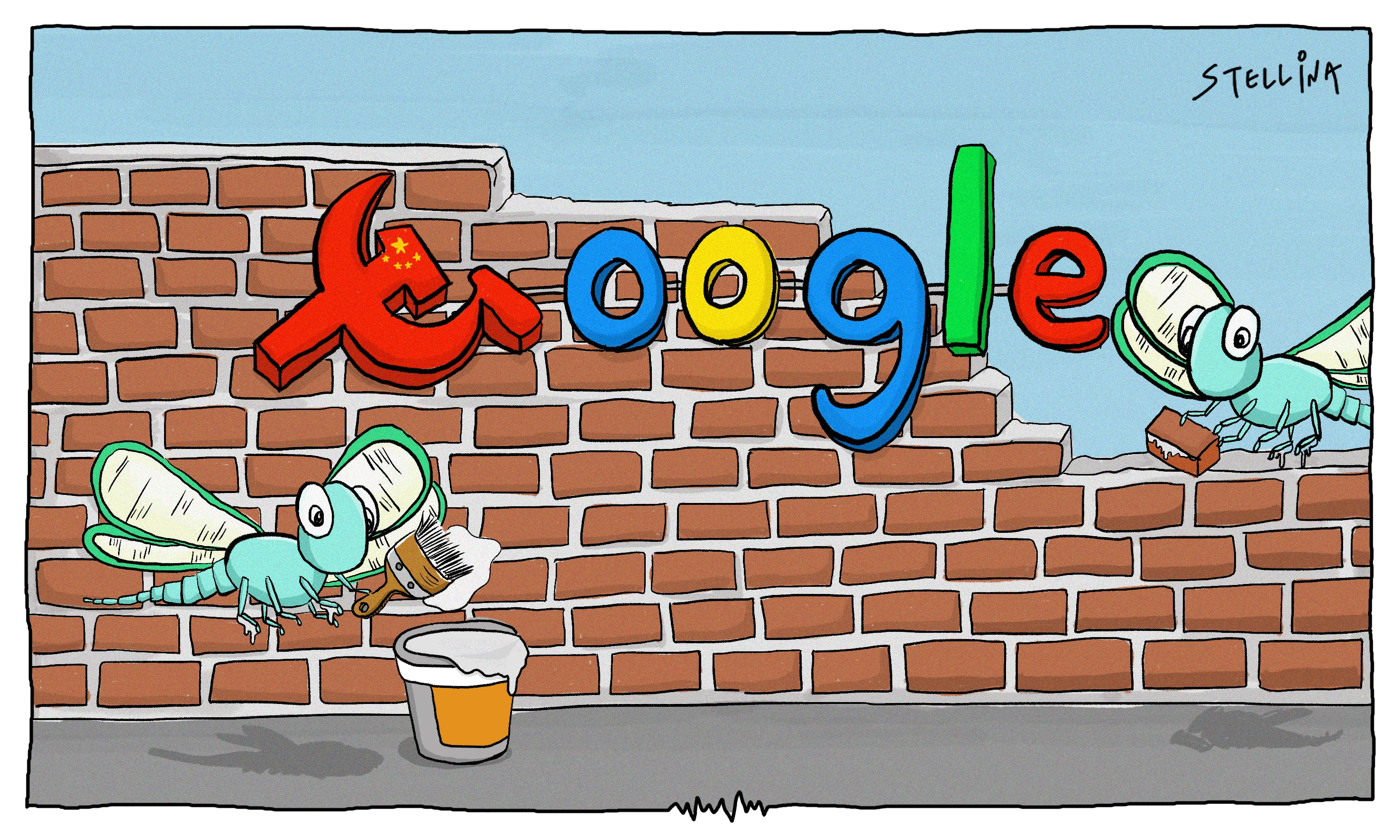 CARTOON: Google's Dragonfly Buzzes Behind Great Firewall